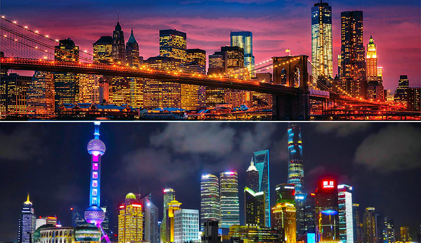 Comparison of New York and Shanghai