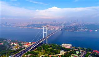 The city of Istanbul from above with a drone
