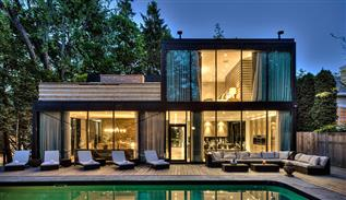 Modern glass house in Canada